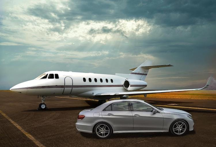 private jet and mercedes